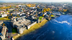 View of King John`s Castle and Limerick city, Ireland King John`s Castle Royalty Free Stock Image