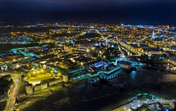 View of King John`s Castle and Limerick city at night, Ireland King John`s Castle Stock Photo