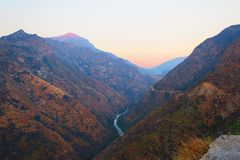 View of King's river canyon at sunset. Seen from King's Canyon highway, Sequoia National Monument stock image