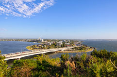 View from Kings Park - Perth. Narrows Bridge over the Swan River and Mill Point photographed from Kings Park - Perth, WA, Australia stock images