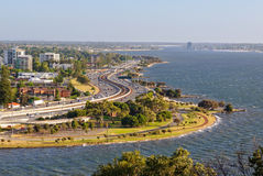 View from Kings Park - Perth. Swan River and Mill Point photographed from Kings Park - Perth, WA, Australia royalty free stock image