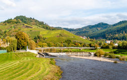 View of Kinzig river in the Black Forest mountains stock image