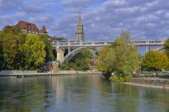 View of Kirchenfeldbrücke from Dalmazibrücke Royalty Free Stock Photo