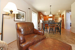 View of the kitchen and dining area from a living room Stock Images