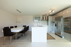View of kitchen with dining table Stock Photography
