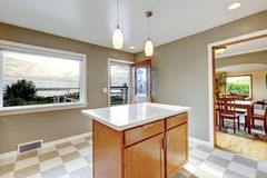 View of kitchen island and open door Royalty Free Stock Photo