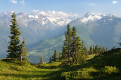 View from Kitzbuheler Alpen to Hohe Tauern Stock Image