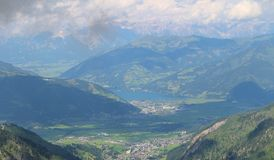 View from Kitzsteinhorn over Zeller See and Kaprun Royalty Free Stock Photos
