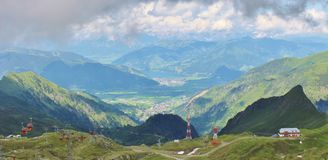 View from Kitzsteinhorn over Zeller See and Kaprun Royalty Free Stock Image