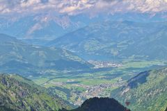 View from Kitzsteinhorn over Zeller See and Kaprun Stock Photos