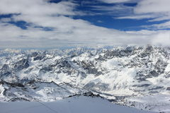 The view from the Klein Matterhorn 3,883 m showcases the highest peaks of the Swiss Alps. Valais, Switzerland. Stock Photos