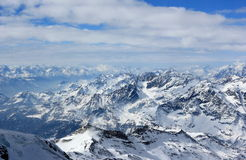 The view from the Klein Matterhorn 3,883 m showcases the highest peaks of the Swiss Alps. Valais, Switzerland. The Klein Matterhorn Little Matterhorn is a peak royalty free stock photos