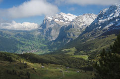 View from Kleine Scheidegg at Grindelwald (Berner Oberland, Switzerland) Stock Image