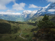 View from Kleine Scheidegg at Grindelwald (Berner Oberland, Switzerland). The Kleine Scheidegg is a mountain pass (2,061 metre), situated below and between the Royalty Free Stock Photos