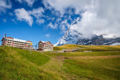 View at the Kleine Scheidegg Railway Station Berner Oberland, Switzerland. The Kleine Scheidegg is a mountain pass 2,061 metre, situated below and between the royalty free stock images
