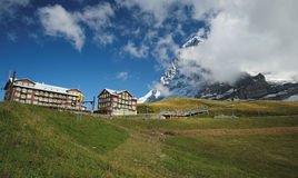 View at the Kleine Scheidegg Railway Station (Berner Oberland, Switzerland). The Kleine Scheidegg is a mountain pass (2,061 metre), situated below and between Royalty Free Stock Photo