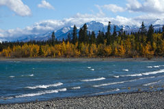 View of Kluane Lake and front range of St. Elias Mountains Royalty Free Stock Photo