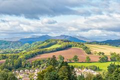 Crieff Hillside Fields Forrest and Majestic Mountains of Scotland royalty free stock photography