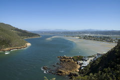 View from the Knysna Heads. Image of the Knysna estuary taken from the viewpoint at the 'Heads royalty free stock photo
