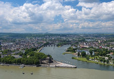 View of Koblenz, Germany. View of Koblenz with German Corner (Deutsches Eck) at the confluence of Rhine and Mosel rivers with equestrian statue of William the Stock Photography