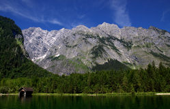 View from the Koenigssee towards the alps Royalty Free Stock Photo