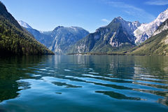 View from the Koenigssee towards the alps Stock Photo