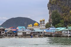 View of Koh panyee is muslim fishing village floating at phang nga bay national park, thailand Stock Photos