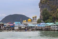 View of Koh panyee is muslim fishing village floating at phang nga bay national park, thailand. View of Koh panyee is muslim fishing village floating in andaman Stock Photos