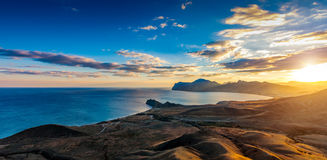 View of the Koktebel Bay, Cape Chameleon and ancient volcano Kar Royalty Free Stock Photography
