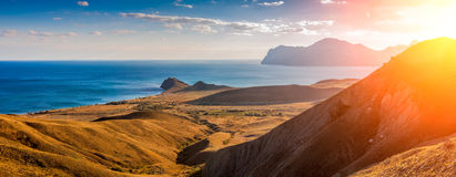 View of Koktebel Bay, Cape Chameleon and ancient volcano  Karadag, Crimea Royalty Free Stock Image