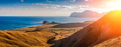 View of Koktebel Bay, Cape Chameleon and ancient volcano  Karadag, Crimea Royalty Free Stock Image
