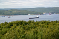 View of Kola Bay from Cape Verde. Murmansk Royalty Free Stock Photography