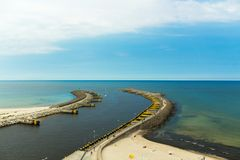 View of Kolobrzeg port entrance, Poland royalty free stock image