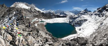 View from kongma la pass - sagarmatha national park Royalty Free Stock Photos