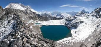 View from kongma la pass - sagarmatha national park. Trek to Everest base camp and three passes - Nepal Stock Photo