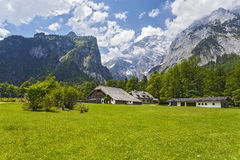 View from Konigsee.Germany. Low building on the background of mountains Stock Photography