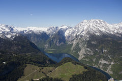 View of Konigsee from Jenner. View of Konigsee lake from Jenner in Bavarian Alps, Germany Royalty Free Stock Photos