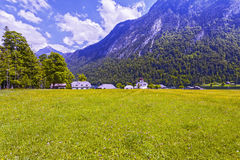 View of Konigssee. Bavaria. Germany. Low building on the background of mountains Stock Photography