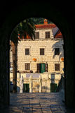 View through Kopnena Vrata Land Gate in Korcula old town, Croa Stock Photos
