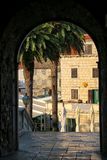 View through Kopnena Vrata Land Gate in Korcula old town, Croa. Tia. Korcula is a historic fortified town on the protected east coast of the island of Korcula Stock Photography