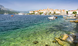 View on Korcula old town with adriatic crystal clear water in Dalmatia, Croatia Royalty Free Stock Photos