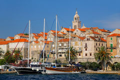 View of Korcula old town, Croatia. Korcula is a historic fortified town on the protected east coast of the island of Korcula Royalty Free Stock Photos