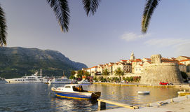 View on Korcula old town by sunset, Dalmatia, Croatia Royalty Free Stock Photos
