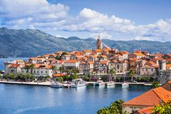 View of the Korcula town, Korcula island, Dalmatia, Croatia. Famous landmark and touristic destination for travel in Europe royalty free stock photo