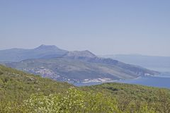 Koromacno peninsula in Istria. View from the Koromacno peninsula in Istria in the direction of the Ucka mountains with its highest peak, the Vojak stock images