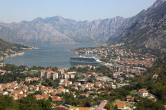 View of Kotor Bay and the city of Kotor. View of Kotor Bay and the city of Kotor, Montenegro Stock Photo