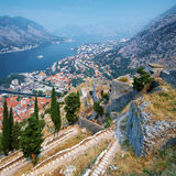 View of the Kotor Bay from Fortress, Montenegro Stock Photography
