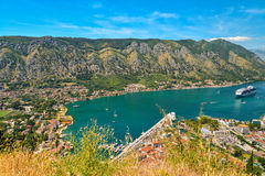 View on Kotor bay. View on fortress with stairs, Kotor bay and Old Town from Lovcen Mountain. Montenegro Stock Photos
