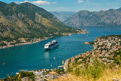 View on Kotor bay. View on fortress with stairs, Kotor bay and Old Town from Lovcen Mountain. Montenegro Stock Image
