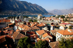 View of Kotor bay and Kotor town in Montenegro. Beautiful sunny landscape with old town royalty free stock image